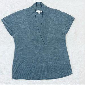 Coldwater Creek Gray Short Sleeve Surplice Sweater